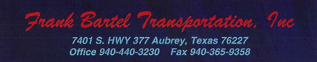 Logo, Frank Bartel Transportation, Trucking Services, Construction Fill in Aubrey, TX